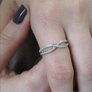 925 Silver Natural White Topaz Infinity Ring